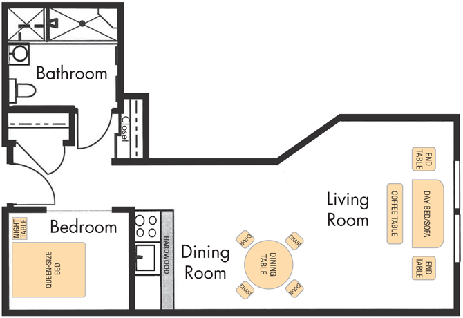 Junior One Bedroom Apartment. Floor Plans   Sterling Court  Rental Community for seniors in San